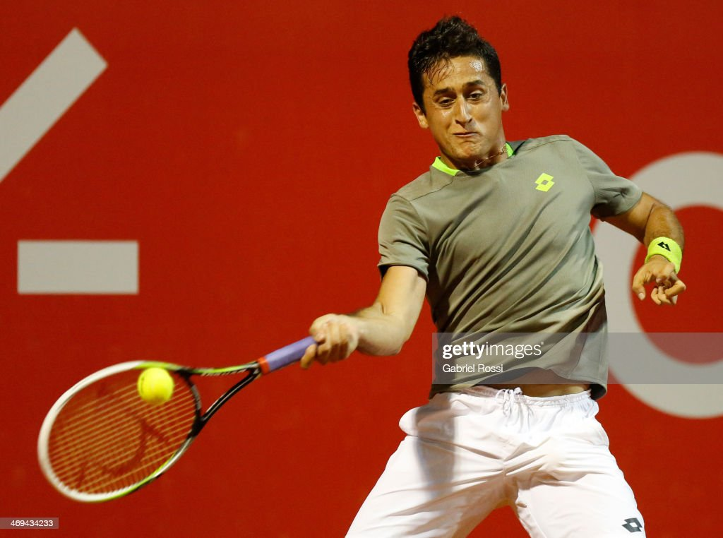 <a gi-track='captionPersonalityLinkClicked' href=/galleries/search?phrase=Nicolas+Almagro&family=editorial&specificpeople=553850 ng-click='$event.stopPropagation()'>Nicolas Almagro</a> of Spain makes a shot during a tennis match between <a gi-track='captionPersonalityLinkClicked' href=/galleries/search?phrase=Nicolas+Almagro&family=editorial&specificpeople=553850 ng-click='$event.stopPropagation()'>Nicolas Almagro</a> and Jeremy Chardy as part of ATP Buenos Aires Copa Claro on February 14, 2014 in Buenos Aires, Argentina.