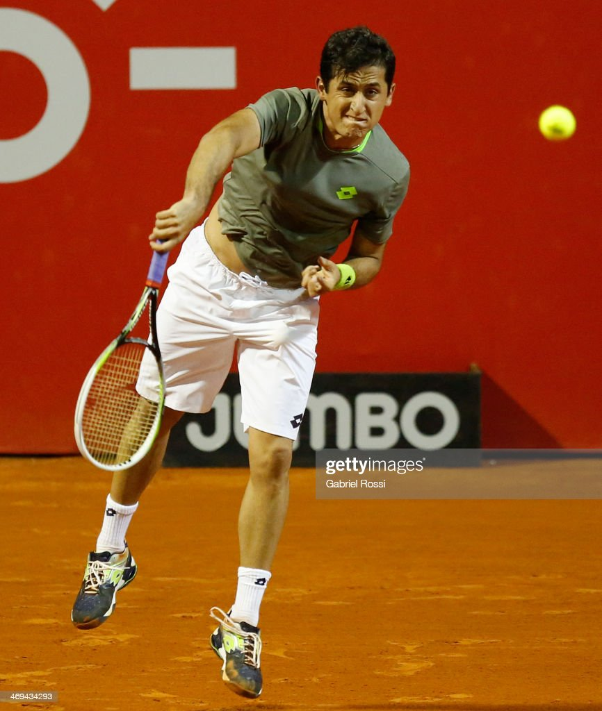 Nicolas Almagro of Spain makes a shot during a tennis match between Nicolas Almagro and Jeremy Chardy as part of ATP Buenos Aires Copa Claro on...