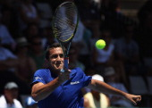 Nicolas Almagro of Spain plays a forehand during his match against David Nalbandian of Argentina on day five of the Heineken Open at ASB Tennis...