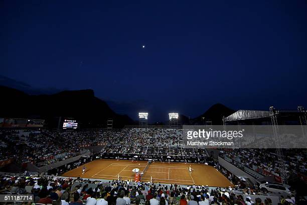Nicolas Almagro of Spain plays Rafael Nadal of Spain during the Rio Open at Jockey Club Brasileiro on February 18 2016 in Rio de Janeiro Brazil