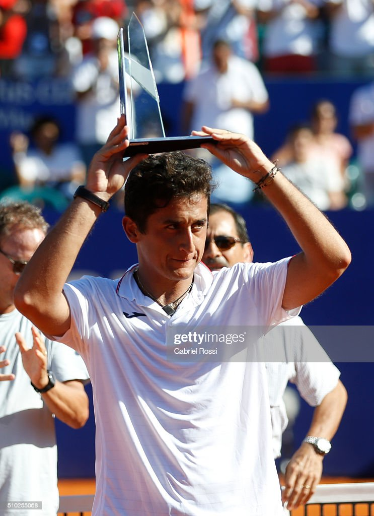 Nicolas Almagro of Spain poses for a photo after losing his final match against Dominic Thiem of Austria as part of ATP Argentina Open at Buenos...