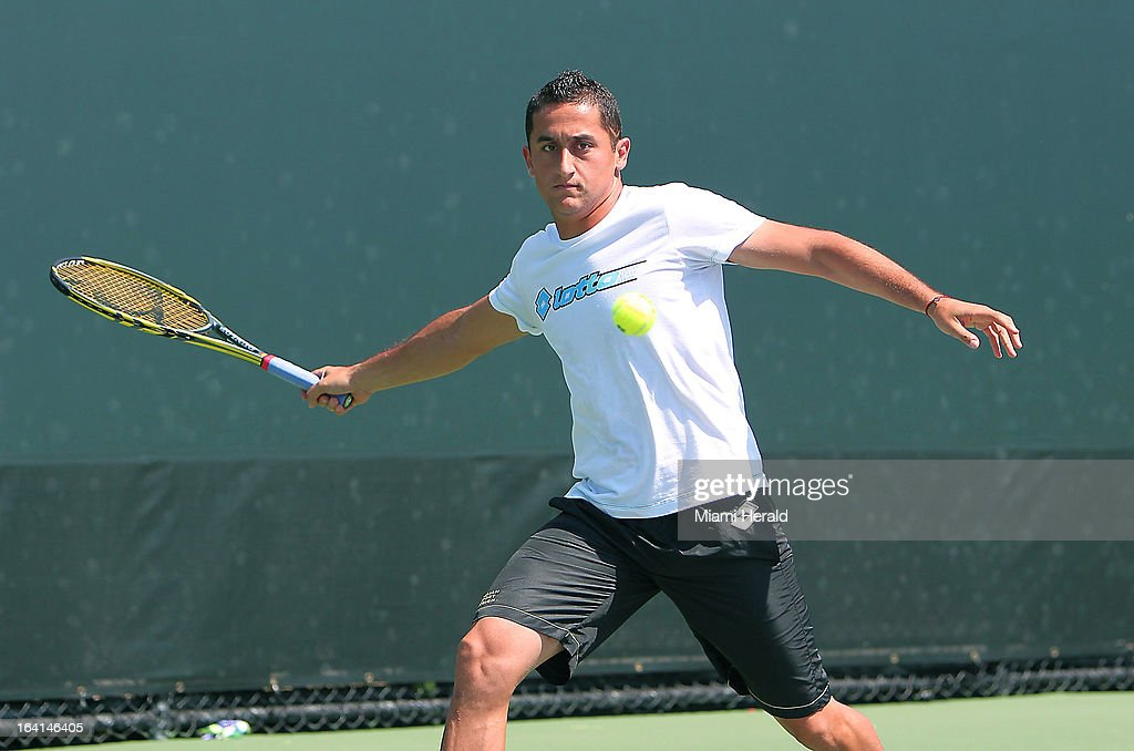 Nicolas Almagro of Spain practices on Day 3 of the Sony Open tennis tournament in Key Biscayne, Florida on Wednesday, March 20, 2013.