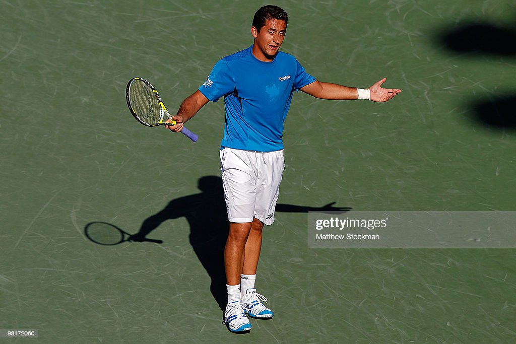 <a gi-track='captionPersonalityLinkClicked' href=/galleries/search?phrase=Nicolas+Almagro&family=editorial&specificpeople=553850 ng-click='$event.stopPropagation()'>Nicolas Almagro</a> of Spain reacts after a point against Andy Roddick of the United States during day nine of the 2010 Sony Ericsson Open at Crandon Park Tennis Center on March 31, 2010 in Key Biscayne, Florida.