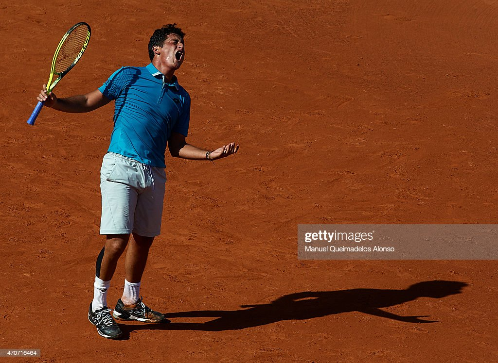 Nicolas Almagro of Spain reacts during his match against Rafael Nadal of Spain during day three of the Barcelona Open Banc Sabadell at the Real Club...