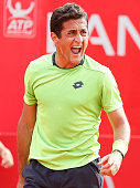 Nicolas Almagro of Spain screams during a tennis match between David Ferrer and Nicolas Almagro as part of ATP Buenos Aires Copa Claro on February 15...
