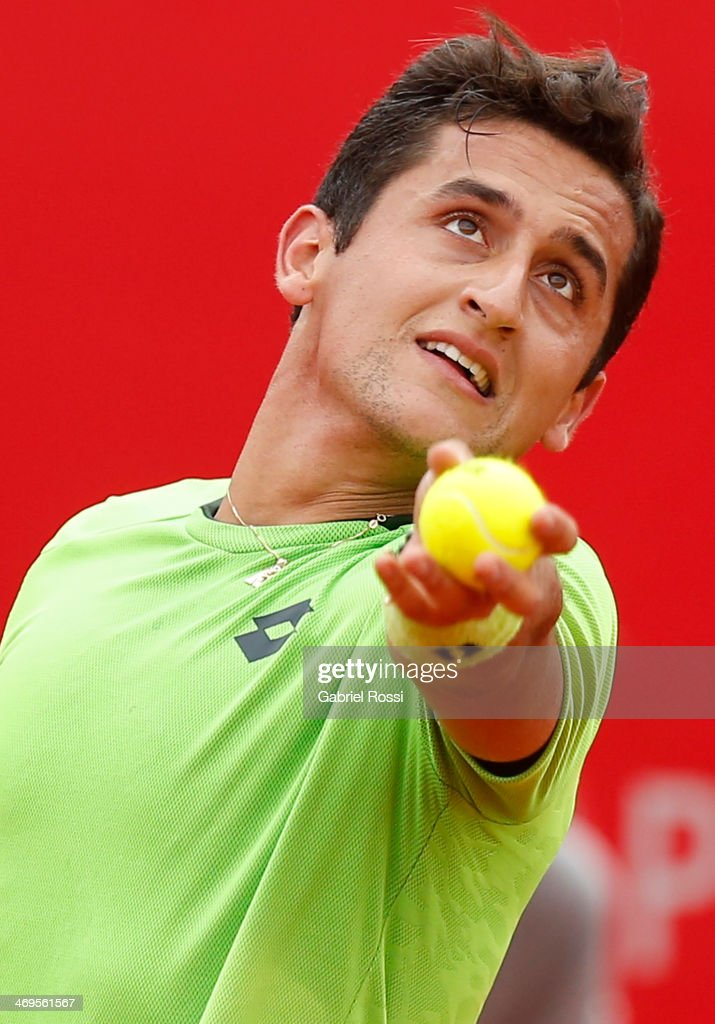 Nicolas Almagro of Spain serves during a tennis match between David Ferrer and Nicolas Almagro as part of ATP Buenos Aires Copa Claro on February 15, 2014 in Buenos Aires, Argentina.