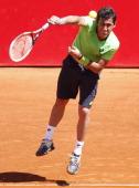 Nicolas Almagro of Spain serves during a tennis match between Nicolas Almagro and Horacio Zeballos as part of ATP Buenos Aires Copa Claro on February...