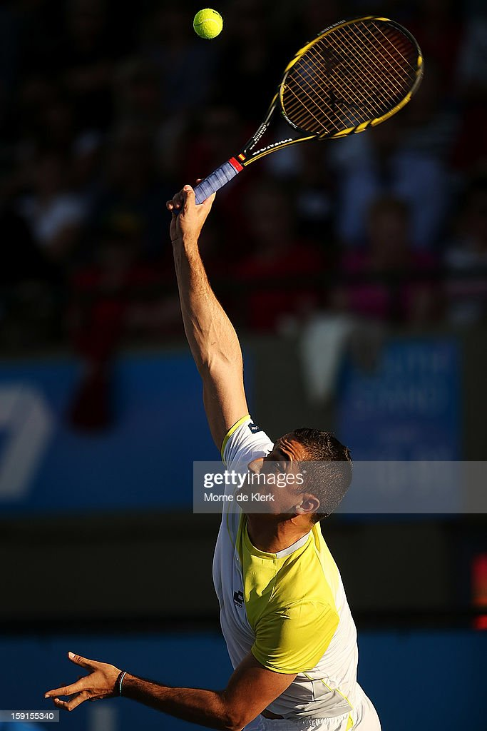 Nicolas Almagro of Spain serves during the World Tennis Challenge at Memorial Drive on January 9, 2013 in Adelaide, Australia.