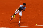 Nicolas Almagro of Spain serves in his Men's Singles match against Rafael Nadal of Spain on day five of the 2015 French Open at Roland Garros on May...