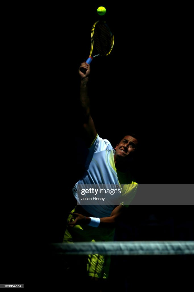 Nicolas Almagro of Spain serves in his Quarterfinal match against David Ferrer of Spain during day nine of the 2013 Australian Open at Melbourne Park on January 22, 2013 in Melbourne, Australia.