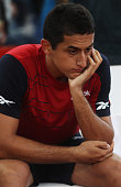 Nicolas Almagro of Spainis seen after loosing his final match against Gilles Simon of France during the betathome German Open Tennis Championships...