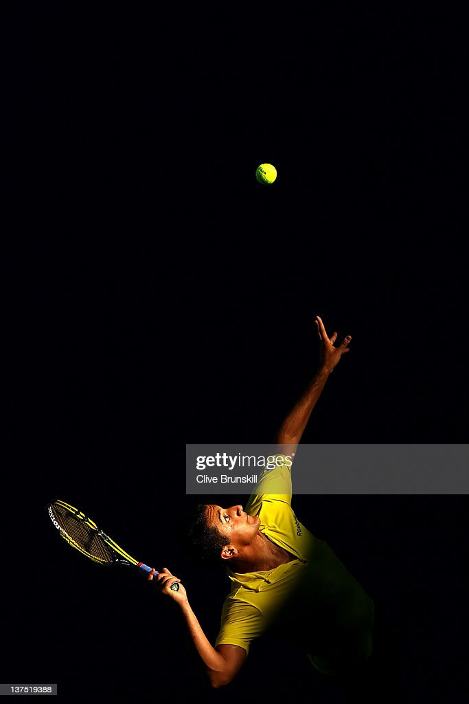 Nicolas Almargo of Spain serves in his fourth round match against Tomas Berdych of Germany during day seven of the 2012 Australian Open at Melbourne Park on January 22, 2012 in Melbourne, Australia.