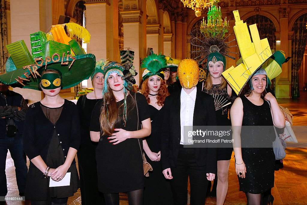 Nicolas and Catherinettes from Lycee Octave Feuillet attend Sainte-Catherine Celebration at Mairie de Paris on November 25, 2013 in Paris, France.