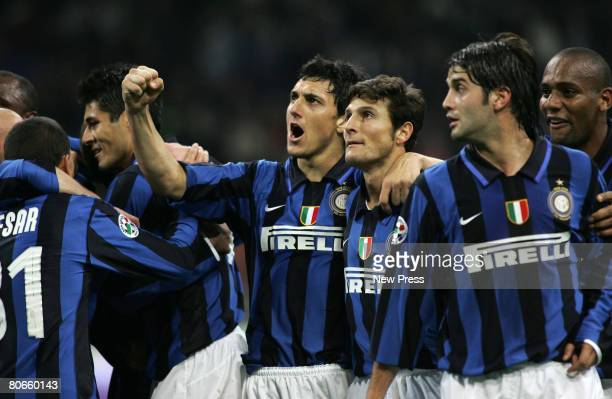 Nicolas Andrea Burdisso and Javier Zanetti and Cristian Chivu of Inter at the end of match i during the Serie A match between Inter and Fiorentina at...