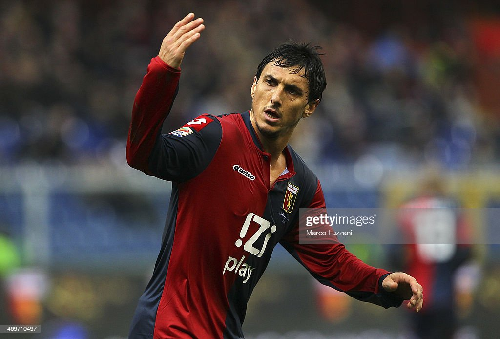 Nicolas Andres Burdisso of Genoa CFC gestures during the Serie A match between Genoa CFC and Udinese Calcio at Stadio Luigi Ferraris on February 16...