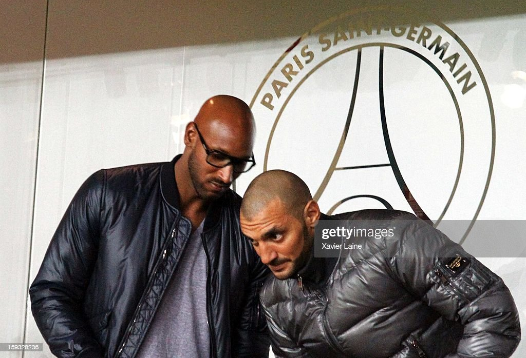 <a gi-track='captionPersonalityLinkClicked' href=/galleries/search?phrase=Nicolas+Anelka&family=editorial&specificpeople=206204 ng-click='$event.stopPropagation()'>Nicolas Anelka</a> (L) attends the French Ligue 1 between Paris Saint-Germain FC and Ajaccio AC, at Parc des Princes on January 11, 2013 in Paris, France.