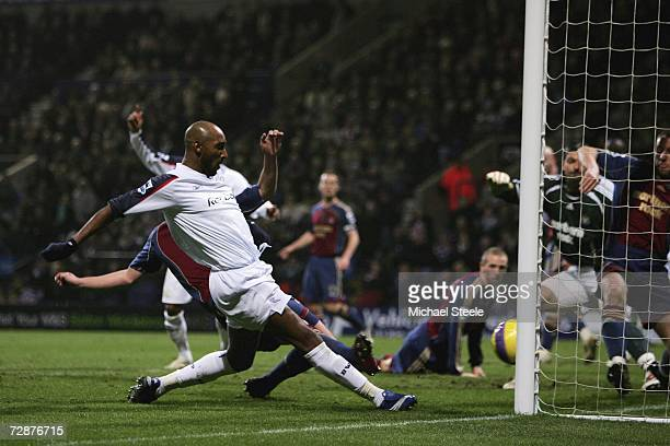 Nicolas Anelka of Bolton scores the winning goal during the Barclays Premiership match between Bolton Wanderers and Newcastle United at the Reebok...