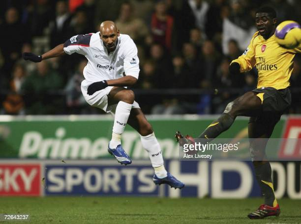 Nicolas Anelka of Bolton Wanderers scores the second goal during the Barclays Premiership match between Bolton Wanderers and Arsenal at the Reebok...