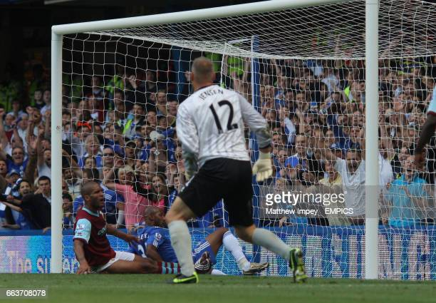 Nicolas Anelka of Chelsea bundles the ball into the net to make the score 10