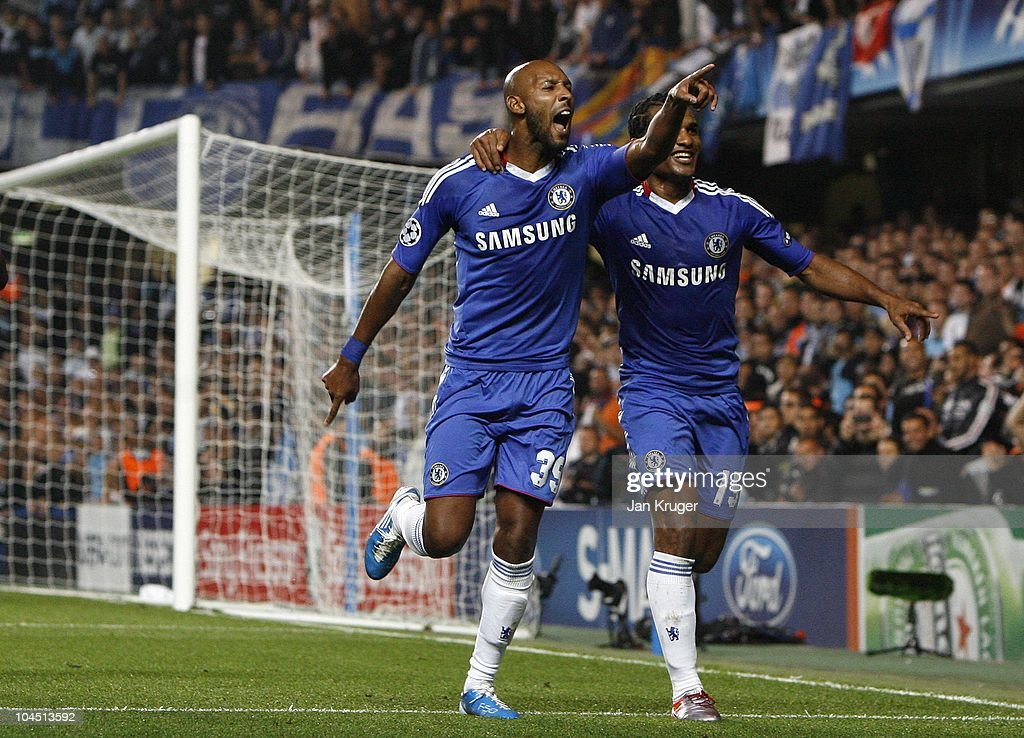 Nicolas Anelka (L) of Chelsea celebrates his goal from the penalty spot with team-mate Florent Malouda during the UEFA Champions League Group F match between Chelsea and Marseille at Stamford Bridge on September 28, 2010 in London, England.