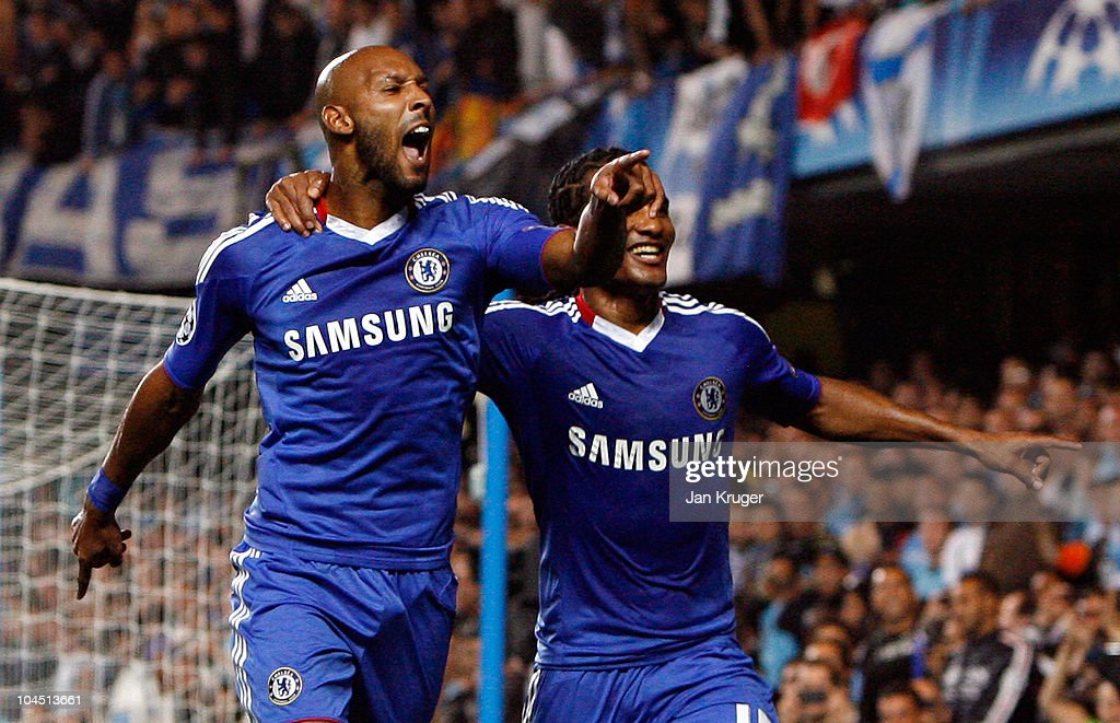 <a gi-track='captionPersonalityLinkClicked' href=/galleries/search?phrase=Nicolas+Anelka&family=editorial&specificpeople=206204 ng-click='$event.stopPropagation()'>Nicolas Anelka</a> (L) of Chelsea celebrates his goal from the penalty spot with team-mate <a gi-track='captionPersonalityLinkClicked' href=/galleries/search?phrase=Florent+Malouda&family=editorial&specificpeople=228109 ng-click='$event.stopPropagation()'>Florent Malouda</a> during the UEFA Champions League Group F match between Chelsea and Marseille at Stamford Bridge on September 28, 2010 in London, England.