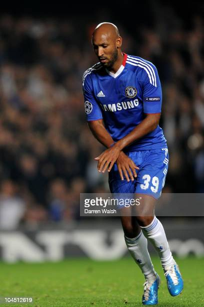 Nicolas Anelka of Chelsea celebrates scoring the second goal from the penalty spot during the UEFA Champions League Group F match between Chelsea FC...