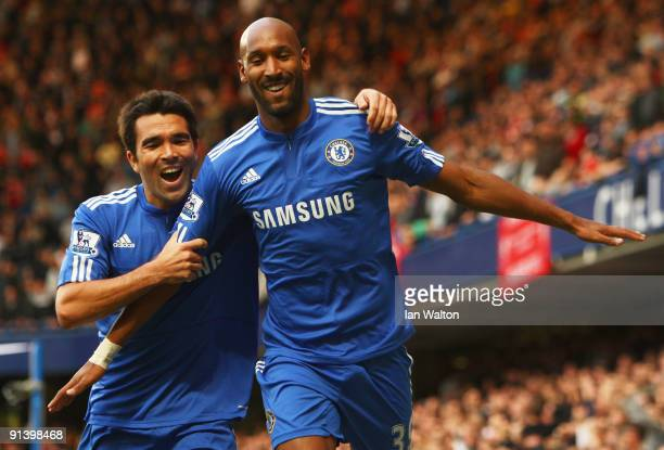 Nicolas Anelka of Chelsea celebrates with Deco as he scores their first goal during the Barclays Premier League match between Chelsea and Liverpool...