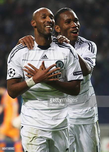 Nicolas Anelka of Chelsea celebrates with Didier Drogba as he scores their first goal during the UEFA Champions League Group D match between FC Porto...
