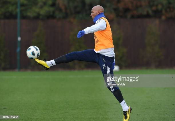 Nicolas Anelka of Chelsea during training session at the Cobham training ground on March 4 2011 in Cobham England