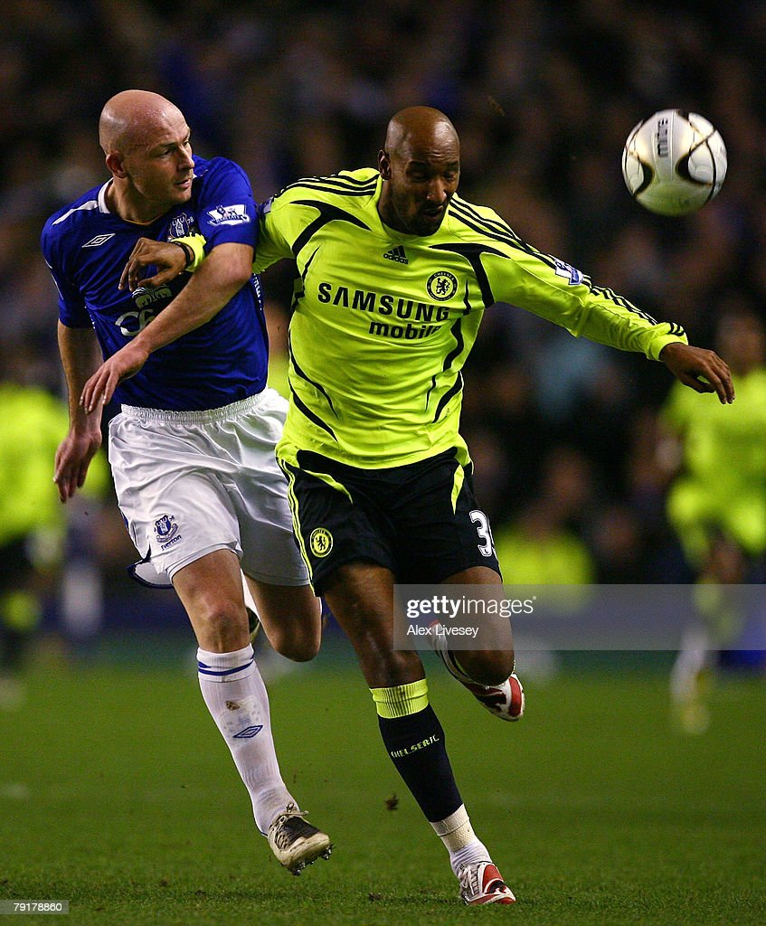 Nicolas Anelka of Chelsea holds off a challenge from Lee Carsley of Everton during the Carling Cup Semi Final 2nd Leg match between Everton and Chelsea at Goodison Park on January 23, 2007 in Everton, England.