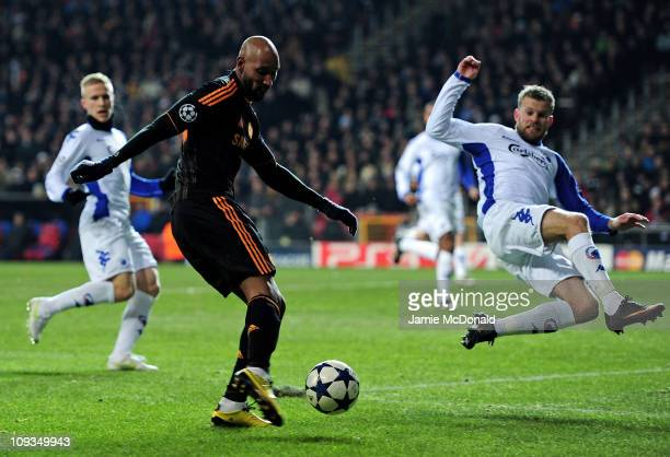 Nicolas Anelka of Chelsea scores the opening goal during the UEFA Champions League round of 16 first leg match between FC Copenhagen and Chelsea at...