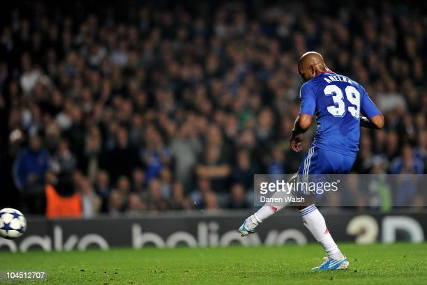 Nicolas Anelka of Chelsea scores the second goal from the penalty spot during the UEFA Champions League Group F match between Chelsea FC and...
