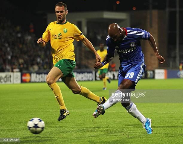 Nicolas Anelka of Chelsea scores their second goal during the UEFA Champions League Group F match between MSK Zilina and Chelsea at the Pod Dubnom...