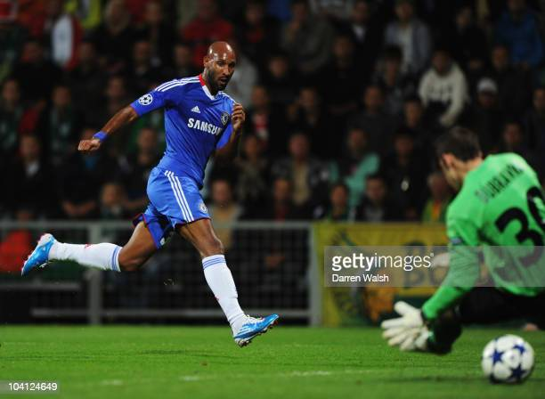 Nicolas Anelka of Chelsea scores their second goal past goalkeeper Martin Dubravka of MSK Zilina during the UEFA Champions League Group F match...