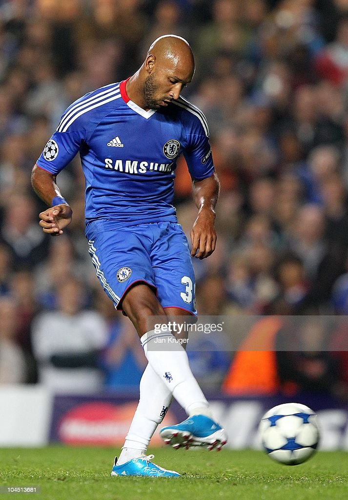 Nicolas Anelka of Chelsea slots a penalty kick during the UEFA Champions League Group F match between Chelsea and Marseille at Stamford Bridge on September 28, 2010 in London, England.