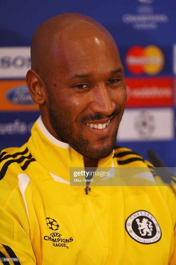 Nicolas Anelka of Chelsea smiles during a press conference prior to the UEFA Champions League Group A match between Bordeaux and Chelsea held at the...