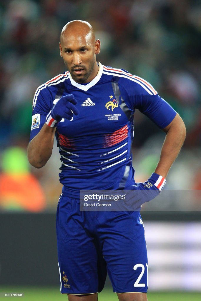 <a gi-track='captionPersonalityLinkClicked' href=/galleries/search?phrase=Nicolas+Anelka&family=editorial&specificpeople=206204 ng-click='$event.stopPropagation()'>Nicolas Anelka</a> of France gestures during the 2010 FIFA World Cup South Africa Group A match between France and Mexico at the Peter Mokaba Stadium on June 17, 2010 in Polokwane, South Africa.