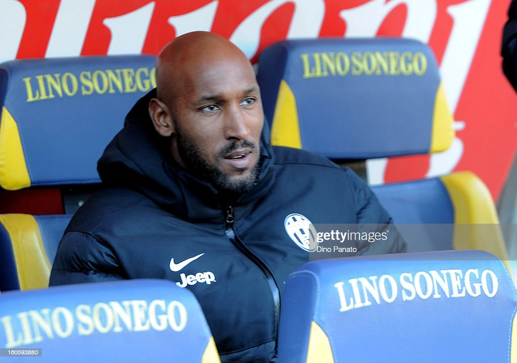 Nicolas Anelka of Juventus looks on during the Serie A match between AC Chievo Verona and Juventus FC at Stadio Marc'Antonio Bentegodi on February 3, 2013 in Verona, Italy.