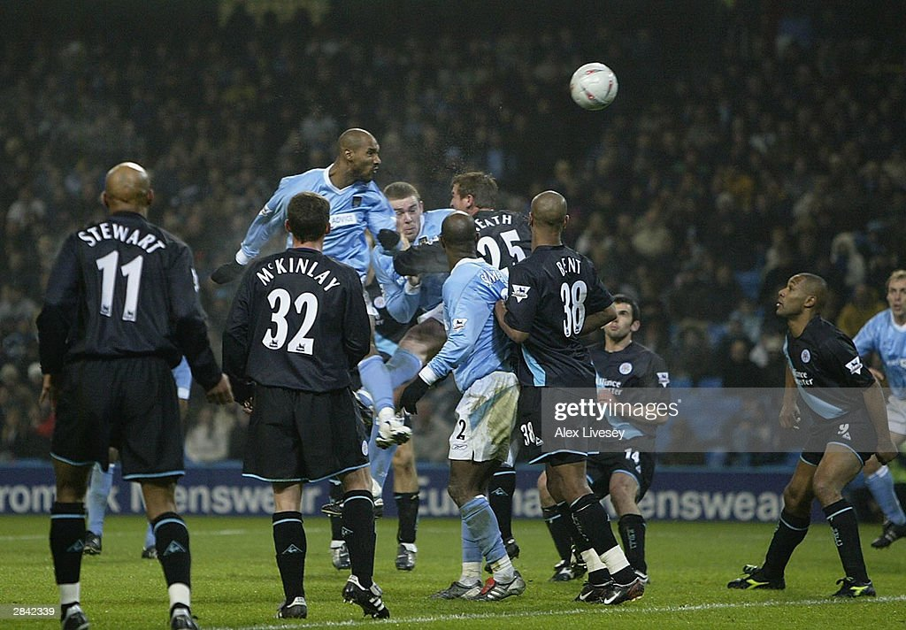 Nicolas Anelka of Manchester City scores his second goal during the FA Cup third round match between Manchester City and Leicester City at City of Manchester Stadium on January 3, 2004 in Manchester, England.