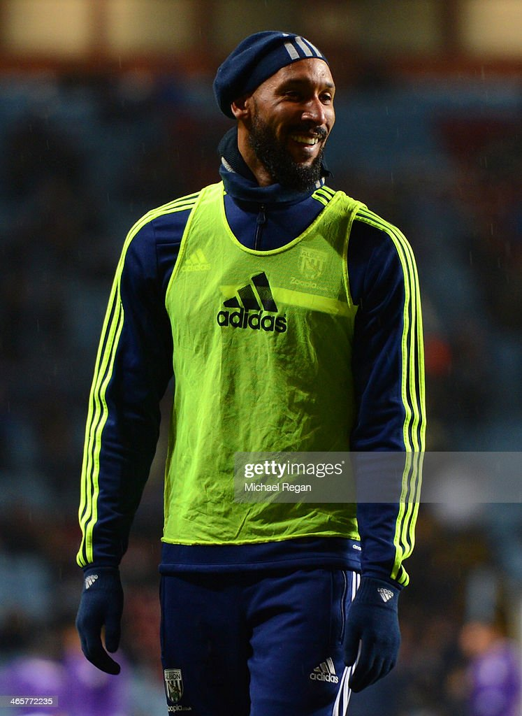 <a gi-track='captionPersonalityLinkClicked' href=/galleries/search?phrase=Nicolas+Anelka&family=editorial&specificpeople=206204 ng-click='$event.stopPropagation()'>Nicolas Anelka</a> of West Brom smiles ahead of the Barclays Premier League match between Aston Villa and West Bromwich Albion at Villa Park on January 29, 2014 in Birmingham, England.