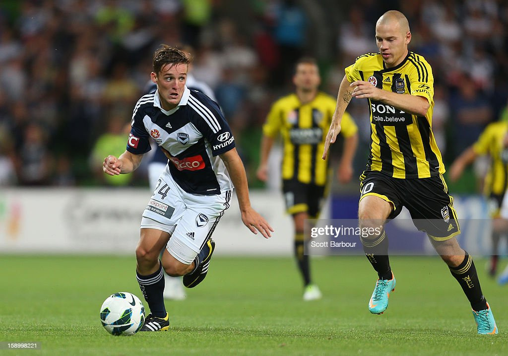 Nicolas Ansell of the Victory controls the ball during the round 15 A-League match between the Melbourne Victory and Wellington Phoenix at AAMI Park on January 5, 2013 in Melbourne, Australia.