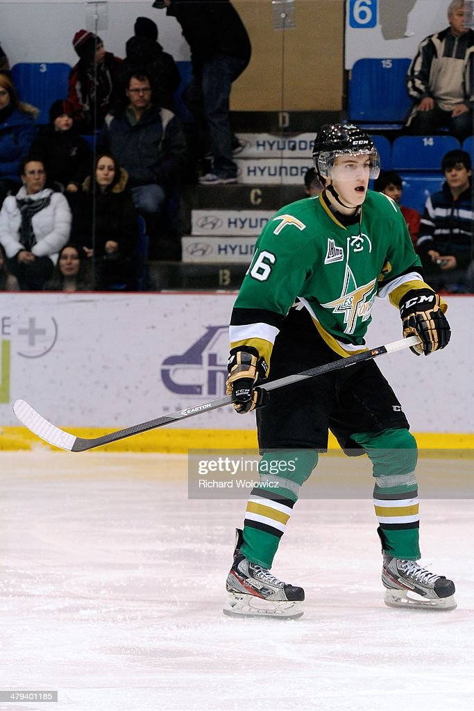 Nicolas Aube-Kubel #16 of the Val D'Or Foreurs skates during the QMJHL game against the Drummondville Voltigeurs at the Centre Marcel Dionne on February 14, 2014 in Drummondville, Quebec, Canada.