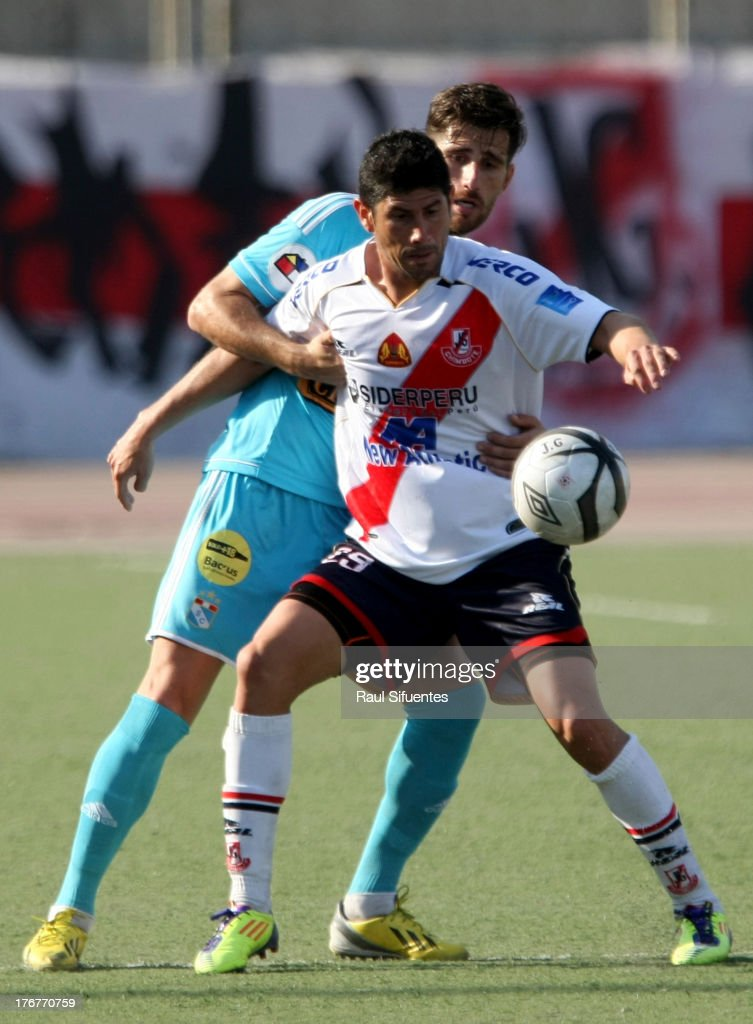 Nicolas Ayr (L) of Sporting Cristal fights for the ball with <a gi-track='captionPersonalityLinkClicked' href=/galleries/search?phrase=Sergio+Almiron&family=editorial&specificpeople=660934 ng-click='$event.stopPropagation()'>Sergio Almiron</a> (R) of Jose Galvez during a match between Jose Galvez and Sporting Cristal as part of The Torneo Descentralizado 2013 at the Estadio Manuel Rivera Sanchez on August 18, 2013 in Chimbote, Peru.