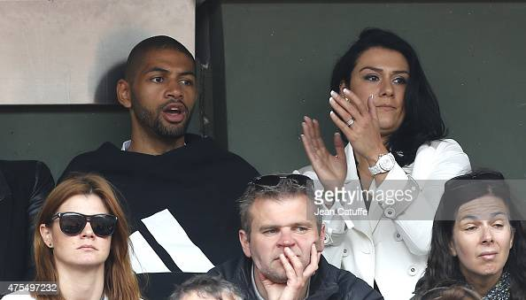 Nicolas Batum and his wife Melanie Batum attend day 8 of the French Open 2015 at Roland Garros stadium on May 31 2015 in Paris France