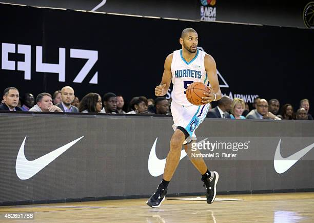 Nicolas Batum of Team Africa dribbles the ball during the NBA Africa Game 2015 as part of Basketball Without Borders on August 1 2015 at the Ellis...
