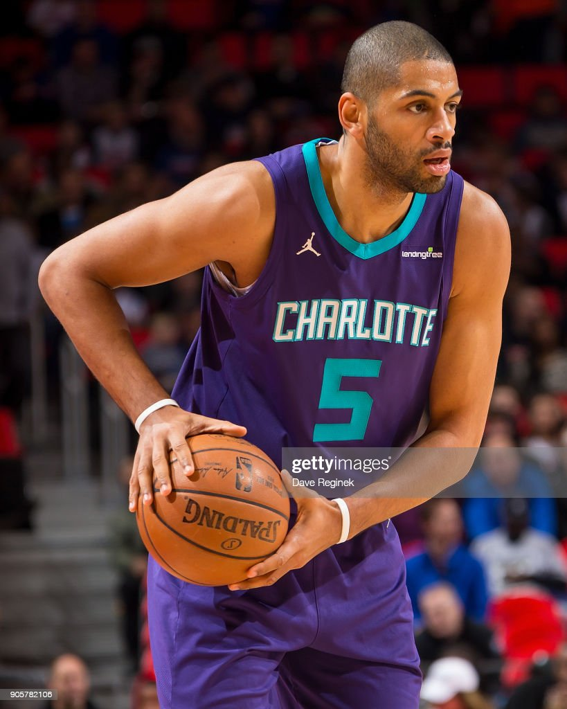 Nicolas Batum #5 of the Charlotte Hornets controls the ball against the Detroit Pistons during the an NBA game at Little Caesars Arena on January 15, 2018 in Detroit, Michigan.