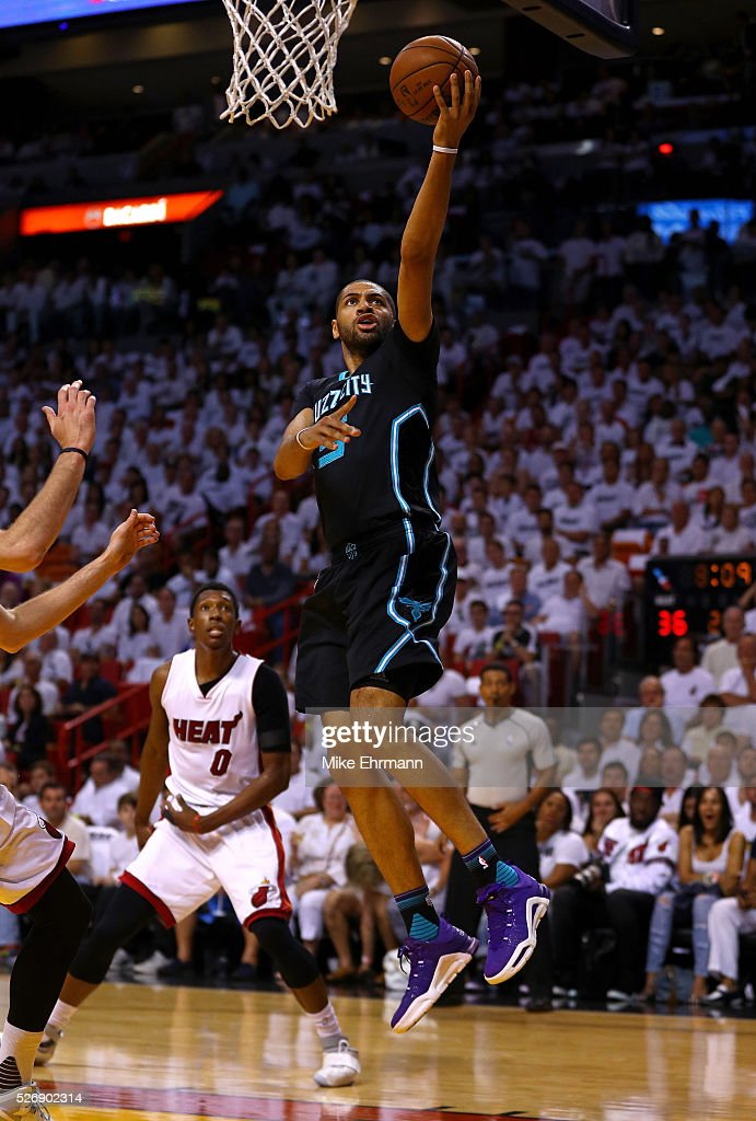 <a gi-track='captionPersonalityLinkClicked' href=/galleries/search?phrase=Nicolas+Batum&family=editorial&specificpeople=3746275 ng-click='$event.stopPropagation()'>Nicolas Batum</a> #5 of the Charlotte Hornets drives to the basket during Game Seven of the Eastern Conference Quarterfinals of the 2016 NBA Playoffs against the Miami Heat at American Airlines Arena on May 1, 2016 in Miami, Florida.
