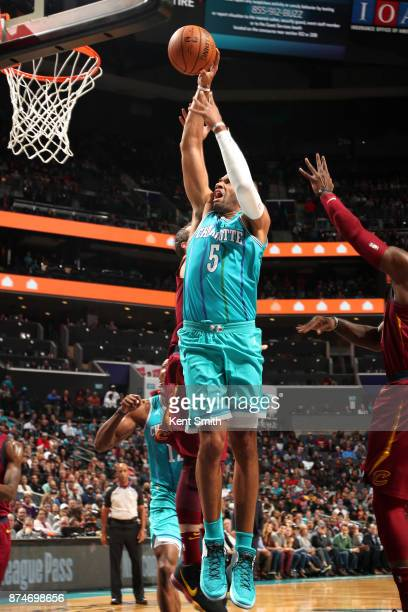 Nicolas Batum of the Charlotte Hornets goes to the basket against the Cleveland Cavaliers on November 15 2017 at Spectrum Center in Charlotte North...