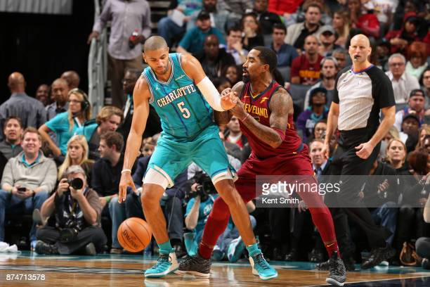 Nicolas Batum of the Charlotte Hornets handles the ball against the Cleveland Cavaliers on November 15 2017 at Spectrum Center in Charlotte North...