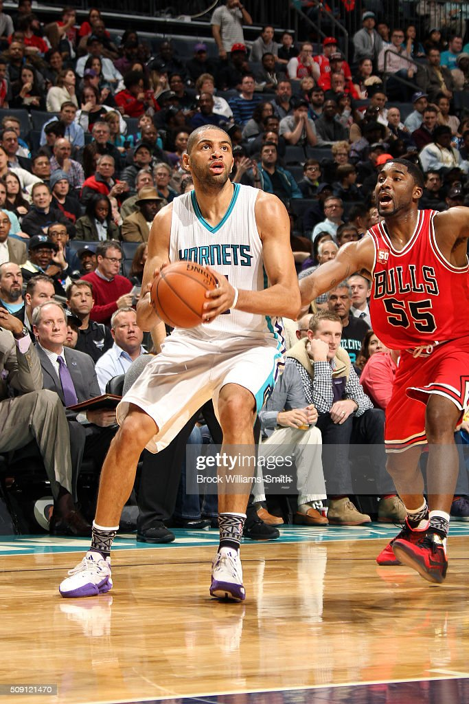 <a gi-track='captionPersonalityLinkClicked' href=/galleries/search?phrase=Nicolas+Batum&family=editorial&specificpeople=3746275 ng-click='$event.stopPropagation()'>Nicolas Batum</a> #5 of the Charlotte Hornets handles the ball during the game against the Chicago Bulls on February 8, 2016 at Time Warner Cable Arena in Charlotte, North Carolina.